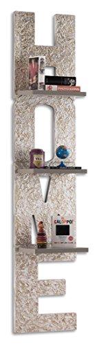 Pintdecor matter home libreria, mdf, argento/grigio tortora, 190x40x26 cm