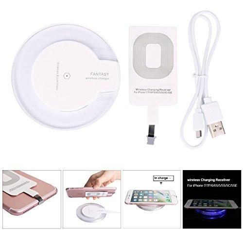 TiaoBug Qi LED Chargeur Sans Fil Station de Recharge Chargeur à Induction pour iPhone X /8/8Plus/7/7Plus/6/6s/6s Plus/5/5s/5c Samsung Galaxy S8/S8 Plus et etet Autre Android Téléphones Portables (USB iPhone, Blanc)