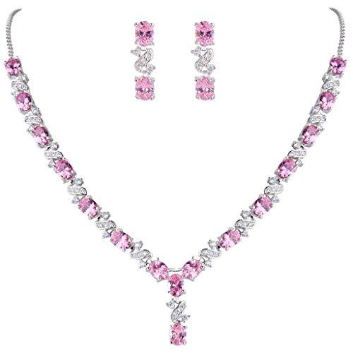 Clearine Damen Elegant Delicate Cubic Zirconia Unendlichkeit Y-Form Halskette Dangle Ohrringe Set Pink Turmalin Farbe