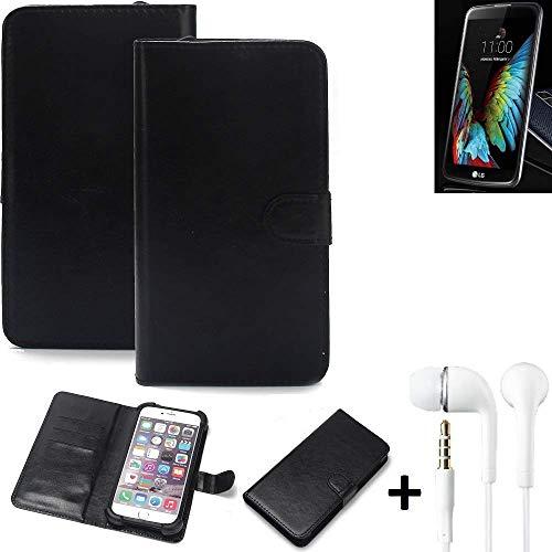 K-S-Trade 360° Handyhülle Wallet Case für LG Electronics K10 (3G) Schutz Hülle Smartphone Flip Cover Flipstyle Tasche Schutzhülle Flipcover Slim Bumper schwarz, 1x + in Ear Headphones