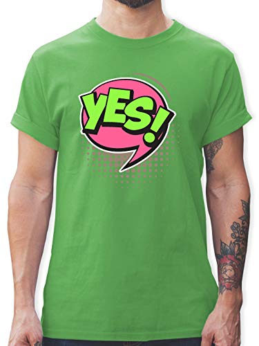 Karneval & Fasching - Popart Karneval Kostüm YES! - L - Grün - L190 - Herren T-Shirt und Männer Tshirt (Pop Art Comic Mann Kostüm)