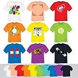 5x T-Shirt Transferfolie für dunkle Stoffe für T-Shirts, Hemden, Pullover, Trikots, Bettwäsche, Fahnen, Mützen, Tragetaschen, Tücher