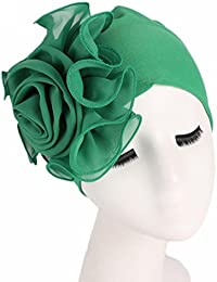 Women Ladies Retro Large and Big Flowers Hat Turban Brim Hat Cap Pile Cap  Sun Hat Spring and Summer Visor Hat… be03bdf8ff62