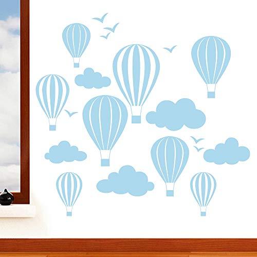 Enfants de ballons à air chaud avec nuages et oiseaux Sticker mural - Art Stickers en vinyle, pour chambre d'enfant, facile à appliquer, sans applicateur, facile - enlever (Veuillez Choisir votre taille et couleur grâce à la sélection Boîtes) - par Rubybloom Designs, Bleu pastel, Medium 90cm x 85cm