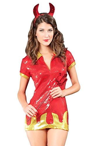 Honeystore Damen's 3PC 7 Typen Sexy Teufel Kostüm Rot LC8598