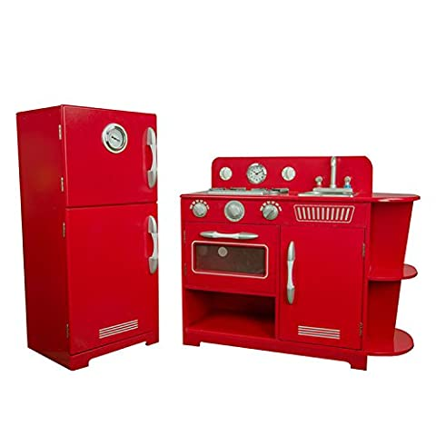 Teamson Kids Sturdy Durable Wooden Deluxe Quality 2 Piece Play Kitchen Set in Red for Kids 4 Years Up