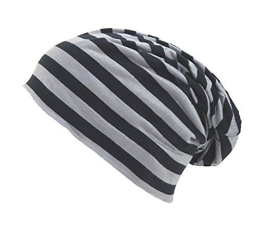Ella Jonte Long Beanie Slouch Stripe Mütze Grau Schwarz Gestreift Longbeanie Unisex Reversible Stripe Beanie