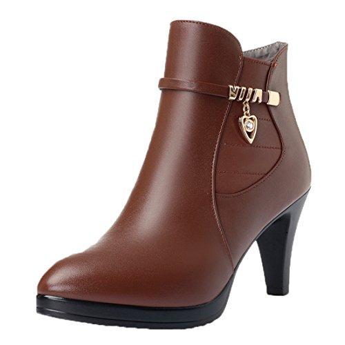 Honeystore Damen Stiefeletten High Heels Spitze Stiletto Ankle Boots mit Reißverschluss Schnalle 7cm Absatz Elegante Schuhe Braun 39CN