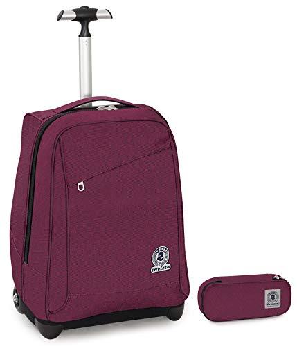 Trolley Invicta + Portapenne Plus - Viola - 35 LT Scuola e viaggio - Eco Material