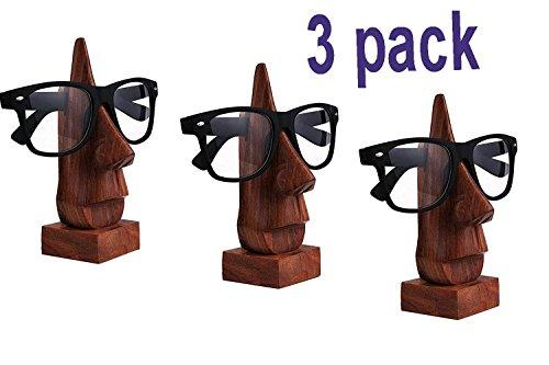 WhopperIndia Satz von 3 Holz Brillenhalter, Brillenhalter, Eyeware Halter Halter, Sonnenbrille Stehen, Brille Inhaber perfekt für Familie