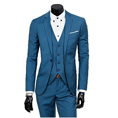 Lilis® Herren One Button 3-teilige Mode Anzug Einreiher Notch-Revers Slim Fit Tux