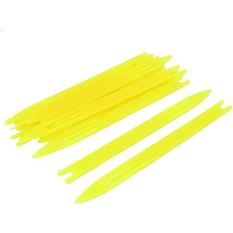 10 piezas de plástico amarillo red de pesca de la aguja de reparación Traslados bobina 3 #