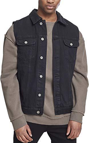 Urban Classics Denim Vest, Chaleco para Hombre, Negro (blackraw 12), Large