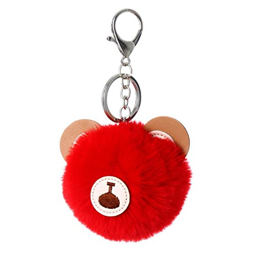 Dragon868 faux Kaninchenpelz Ball Pompom Cartoons Car Anhänger Handtasche Schlüssel Ring Kette 8cm (Rot) (Metall-schlange Handtasche)