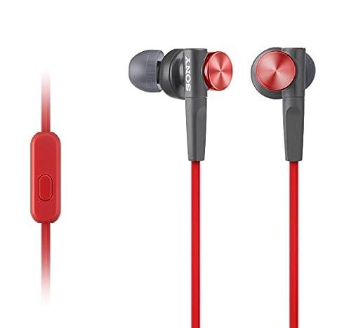 Sony MDR-XB50AP In-Ohr-Headset-Kopfhörer (Extra Bass) rot