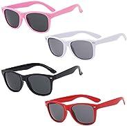 QSXX Polarizadas Niños Gafas de Sol, 4 Piezas Gafas de Sol POLARIZADAS,Gafas de Sol de Moda Retro Moda Protecc