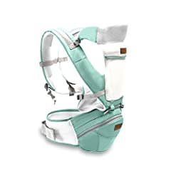 Idea Regalo - SONARIN 3 in 1 Multifunzione Hipseat Baby Carrier, Portantina per bebè, ergonomico, Sacchetto della mummia, 100% cotone, Supporto in mesh traspirante, facile da trasportare e facile mamma, accogliente e lenitivo per i neonati, adattato al crescente del tuo bambino, 100% GARANZIA e CONSEGNA GRATUITA, Ideale Regalo(Verde)