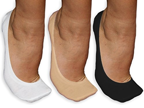 Silicone Grip No-Show Socks/Liners – 3-Pack Women's/Girls Invisible Cotton Footsies - White/Black/Nude [Size 3-7, 36-40]. For Pumps, Flats, Heels & Yoga! Non-Slip Sole, Built-In Blister Pad.