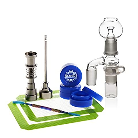 REANICE BOX 1-PACK Titan Nail 10mm/14mm/18mm Nail und weiblich Bong Percolator Rig + 3-PACK Non Stick Silikon Wachs Dab Boxcontainer+ 1-PACK Öl Wachs Carving Tools Edelstahl + 2-PACK-Antihaft-Silikon-Matte-Pad + 1-PACK Zubehör Glas Bong 14.5mm männliche + 1-PACK Zubehör Glas Bong Filter glas wasser bong