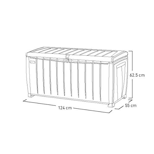 Keter 6007N Novel Storage Box, Auflagen und Universalbox mit Sitzgelegenheit, 340 Liter, beige / braun - 10