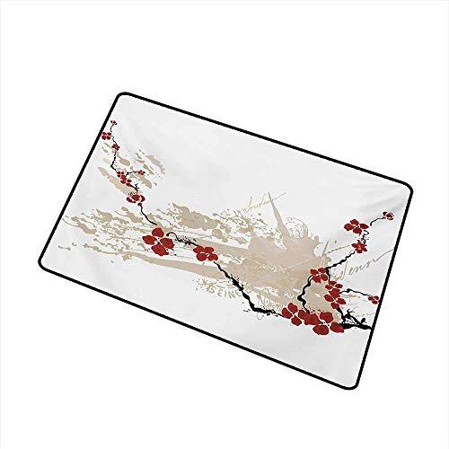 Kinhevao Blumen-Universaltürmatte Illustration von Sakura Flowers auf Schmutz-Hintergrund mit weicher Pastellfarbtürmatten-Boden-Dekoration, beige weiße rote Badematte