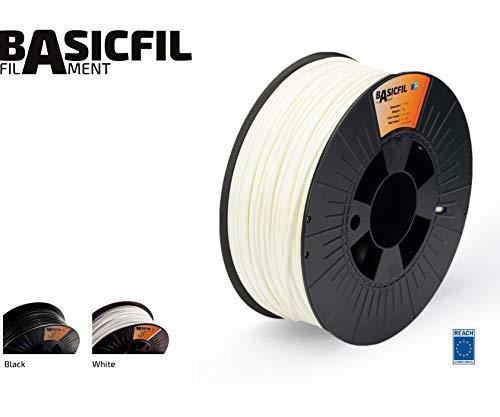 BASICFIL ABS 1.75mm, 1 kg filamento de impresión 3D, Blanco