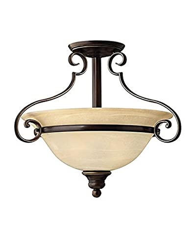Vintage Style Semi Flush Light in an Antique Bronze Finish - Features 2 Light Fittings With Marble Effect Glass Lamp Shades