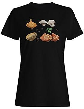 Champiñones De Patata De Cebolla camiseta de las mujeres m815f