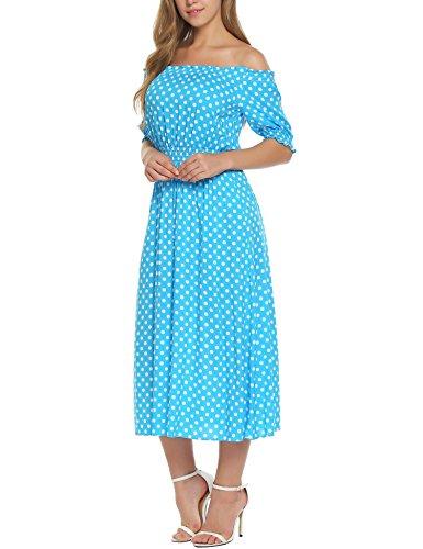 Meaneor Damen Schulterfrei Spitze Patchwork gefaltete Hem Maxi Kleider Cocktailkleider Partykleider Lang Kleid A+Blau