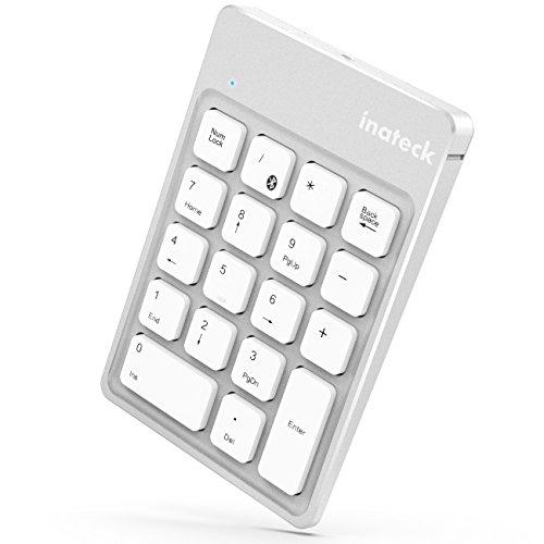 Inateck Teclado numérico Bluetooth inalámbrico Recargable, Teclado Wireless Ultra sútil Portable 18 Teclas para Windows, Mac OS, iOS y Android, Gris