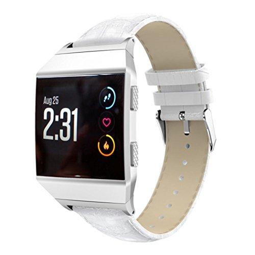 Hunpta@ Mode Sport Leder Armband mit Metallverbindern Compatible für Fitbit Ionic (230mm) (Weiß)