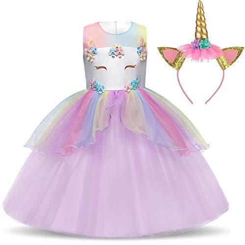 TTYAOVO Mädchen Star Einhorn Phantasie Prinzessin Kleid Kinder Blume Pageant Party Kleid Ärmellose Rüschen Kleider Größe 4-5 Jahre - Kinder Blumen Kostüm