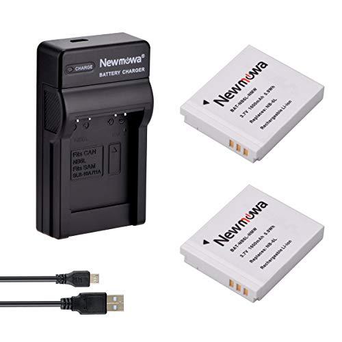 Newmowa® NB-6L Ersatz Akku (2er Pack) und tragbar Micro-USB-Ladegerät-Set für Canon NB-6L, PowerShot SX530HS, SX710HS, SX610HS, SX700HS, SX600HS, D30, S120, S200, SX510HS
