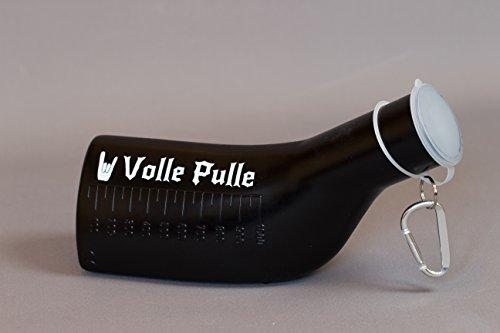 Farbige Urinflasche in Schwarz mit weißer volle Pulle Beschriftung