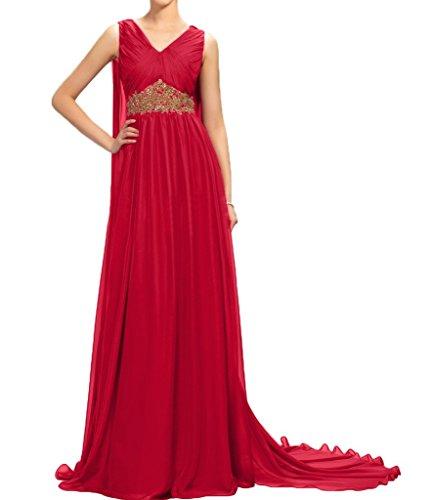 Missdressy Damen Chiffon Lang Schleppe V-Ausschnitt Aermellos Faltenwurf Steine Abendkleider Partykleider Festkleider Rot