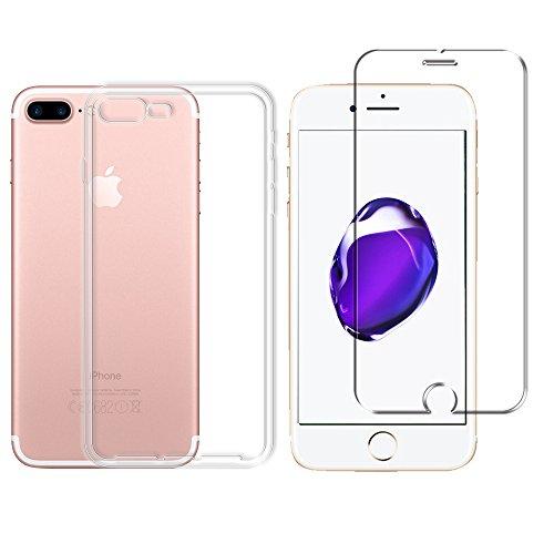 Minto Schutzhülle und Panzerglasfolie für iPhone 7 / iPhone 8 Hülle TPU Case Silikon Crystal Cover Durchsichtig Ultradünn 0.6mm (verkleinerte Folien, aufgrund der Wölbung des Displays) iPhone 7 Plus