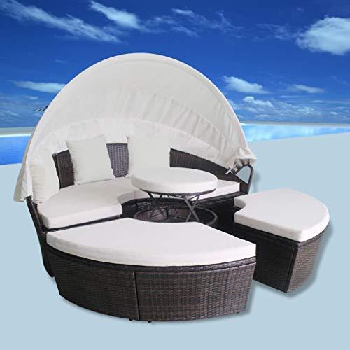 Tidyard- 2-in-1 Lounge-Set 11-TLG. Gartenmöbel Sonnenliege Gartensofa Polyrattan Gartenliege mit Baldachin Sitzpolster Rund Hocker 189 x 72 cm