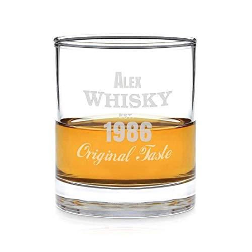 Geschenkidee.de Whiskyglas mit Gravur (Original-Design) | personalisiertes Glas mit Wunsch-Namen und -Datum für wahre Geniesser | massiver Boden