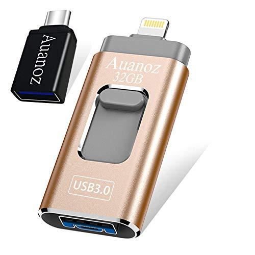 USB-Flashlaufwerk 32 GB Memory Stick, Auanoz USB-Stick USB 3.0 Memory Stick Speichererweiterung OTG-Adapter(Gold-32GB-3.0)