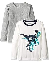 Marca Amazon / J. Crew - LOOK by crewcuts Camiseta de manga larga para niño, liso/estampado (2 unidades)