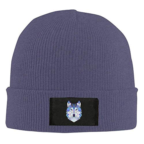 fboylovefor Wolf Animals Winter Warm Knit Hats Skull Caps Stretchy Cuff Beanie Hat Unisex Navy