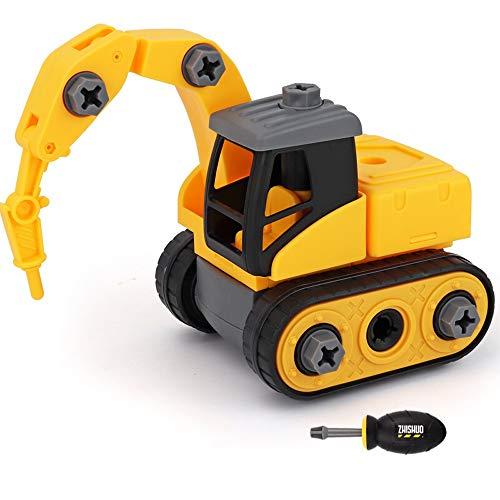 Kikioo Cool play Bau ungiftig Reibung Fahrzeuge, Technik Fahrzeuge Autos Spielzeug Reibung angetrieben Kids Diggers Gabelstapler Sets Spielzeug mit Bohrschrauben Werkzeug Lernspielzeug für Kinder ab 3 - Story 4k Toy