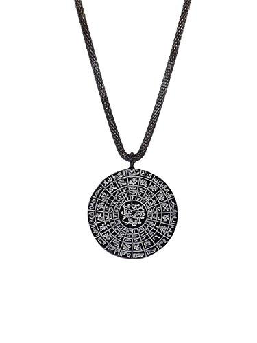Remi Bijou Halskette mit Anhänger 'Amulett' Tilsim Cevsen Gebet Dua Allah Islam Muslim Arabische Schrift, ColorName:Schwarz