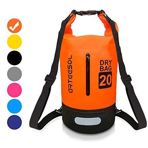 VIPFAN Dry Bag, Wasserdicht Taschen 5L / 10L / 20L / 30L Rucksack Mit Taille Schnallen Zum Strand Schwimmen Oder Wandern - Schützen iPhone Kamera Dokument aus Wasser und dchmutz (Orange, 20L)