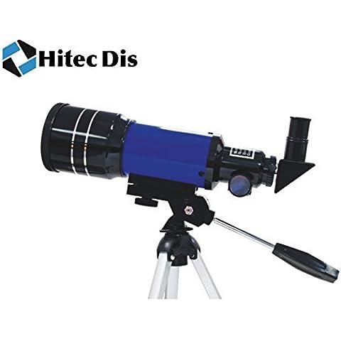 Telescopio Astronómico Refractor para Astronomía Espacio Telescopio para la visualización de estrellas, planetas, la luna, Hitec Dis Telescopio F300/70–Azul. Ideal para niños/niños o principiantes
