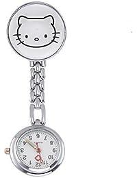 Century Ansteckuhren Klippuhren Bunte Auswahl an Sister Uhren Pulsuhren Schwesternuhren für Pflegekräfte (Kätzchen Weiss)