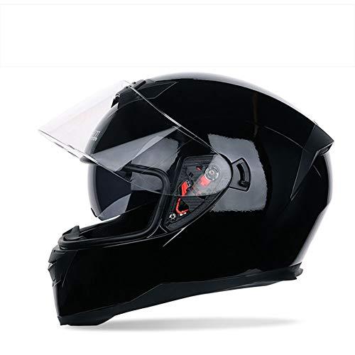 LONG FU Casco Integrale Moto Locomotiva Casco Integrale Moto Casco Integrale passeggero,Black,XXL