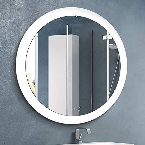 BEAUTME Espejo de vanidad de pared con luces, moderno espejo de maquillaje de círculo con control táctil...