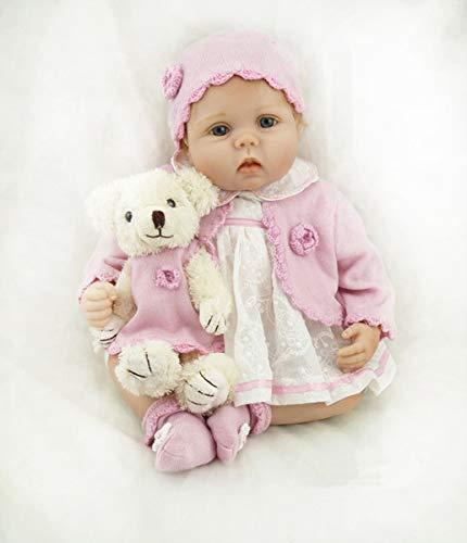 5cm So wirklich Silikon Vinyl Wiedergeboren Baby Mädchen Puppe Echt Blond Mohair Weiche Stofftuch Körper Neugeborenen Puppen Spielzeug Kinder Bedtime Playmate ()