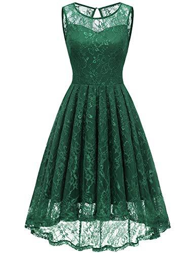 Gardenwed Damen Kleid Retro Ärmellos Kurz Brautjungfern Kleid Spitzenkleid Abendkleider CocktailKleid Partykleid Forest Green 3XL
